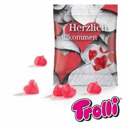 Fruchtgummi-Herzen Minitüte 'Herzlich willkommen'