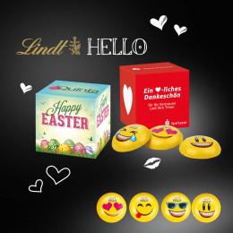 Werbewürfel mit Lindt Hello Mini Emoti