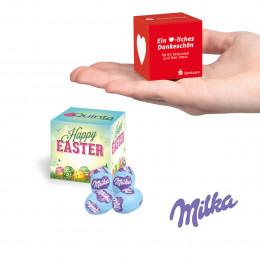 Werbewürfel mit Milka Alpenmilch Eiern