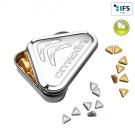 3-Eck-Präge-Drück-mich-Dose mit Pfefferminzgold- oder Silbernuggets