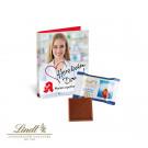Werbe-Klappkarte mit Lindt Schokoladentäfelchen