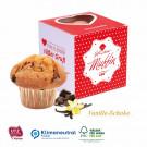 Muffin Maxi im Werbewürfel mit Herzausstanzung