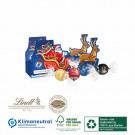 Karton-Adventskalender-Schlitten Lindor mit vier Türchen, Klimaneutral, FSC®, Innen- und Außenteil zu 100% aus Karton