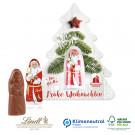Schokokarte Business mit Lindt Weihnachtsmann - Weihnachtsbaum, Klimaneutral, FSC®-zertifiziert