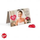 Werbekarte Visitenkartenformat Friedel Schokoladenherz